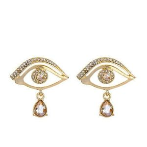 Pale Gold Artistic Eye Earrings